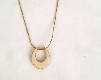 Gold Tone Creamy Blush Enamel Pendant Necklace 70s Vintage Minimalist Geometric Ovoid Jewelry 15 inch chain