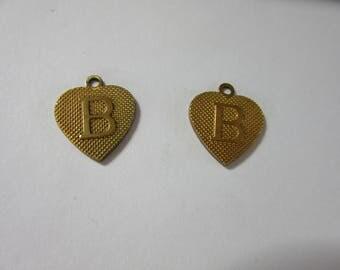 """Brass-a- Rama,  Sale a Rama brass heart initial """"B""""    BRASS STAMPING5. 14 pcs, A 1199"""