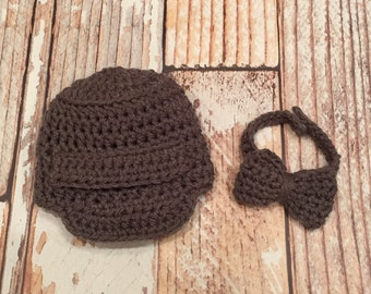 Newborn Boy Props - Crochet Outfit Set - Baby Boy Bowtie Set - Infant Boy Outfit - Crochet Hat - Photo Outfits - Crochet Newsboy Hat Cap
