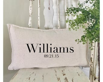 Bride's Gift | Bridal Shower Gift | Wedding Gift | Personalized Wedding Pillow | Anniversary Gift | Family Name Pillow |Realtor Closing Gift