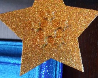 Holographic GOLD Glitter Star Christmas tree Decoration, Wooden, Xmas tree decorations