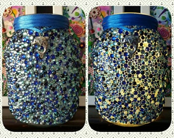 Blue Upcycled Jar Vase light, Decoupage, Fairy lights, lamp, recycled, with Dolphin charm,