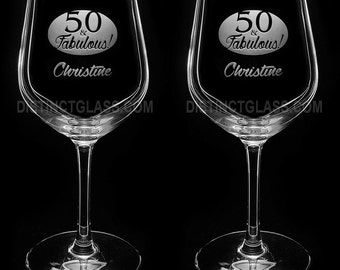 Set of 2 BIRTHDAY WINE GLASSES - 40 & Fabulous -or- 50 and Fabulous, Custom Wine Glass 40th 50th Birthday Wine Glass Ships to Canada U.S.A.