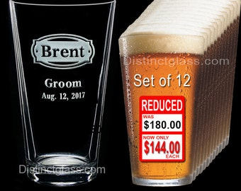 Groomsman - Best Man - Groom - Set of 12 Personalized Etched PINT BEER GLASS - Ships to Canada