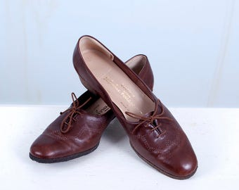 1960's Salvatore Ferragamo Brown Leather Oxfords Women's US size 9.5