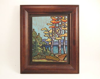 Framed Ceramic Wall Art Tile Plaque, Adirondack Autumn Birch Trees Scene, 13 x 11,