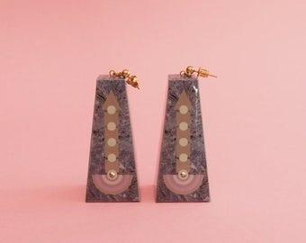 """SALE Geometric Earrings // Pastel Earrings // Marbleized Earrings // Graphic Earrings // Op Art Earrings // Art Deco Earrings // The """"Going"""