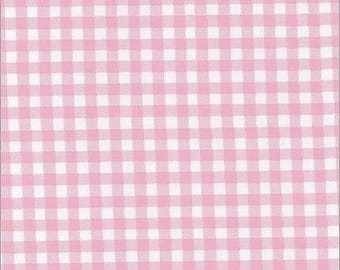 Round Pink Gingham Oilcloth Tablecloth