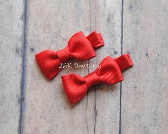 small RED hair bows, toddler hair bows, baby hair clips, girls hair bows, small hair bows, baby hair bows