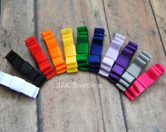 Rainbow colors for hair clips.... Perfect for babies....small hair clips....rainbow colors