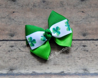 St. Patty's Day - pinwheel hair bow...two tone green and shamrock