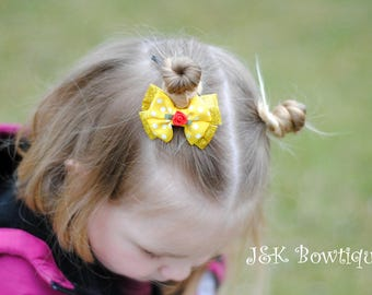 Belle inspired Hair Bow, Beauty and the Beast, Belle Princess , Princess Belle, hair clip, glitter sparkly yellow, red rose