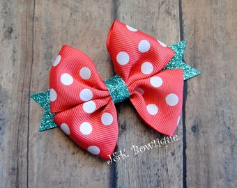 Pinwheel hair bow,hair bow, hair clip, pinwheel bow coral with white dots and aqua teal sparkly glitter ribbon