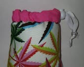 Pendant/Small, Sized, Pipe bag, Pipe Pouch, Rainbow,  Cannabis, Leaf, Leaves, Glass Pipe Protection,  Glass Pipe Bag, Protective, Cover, 2