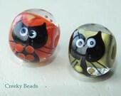 Handmade Lampwork beads 'Cats' - Creeky Beads SRA