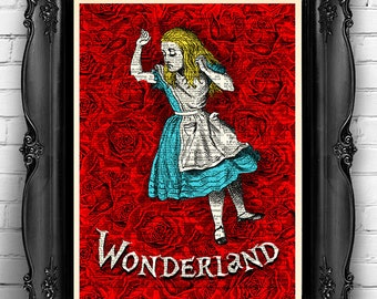 Alice in WONDERLAND Print Alice in Wonderland Wall Art Alice Book Page Print, unique gift for her Alice POSTER kid room decor Alice gift 075