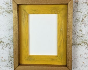 10 x 13 yellow rustic weathered stacked and stained picture frame barn wedding rustic home decor home decor rustic wood frames yellow