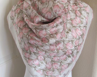 """Beautiful Beige Floral Holland Soft Silk Scarf // 30"""" Inch 73cm Square // Best of the Best"""