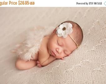 CHRISTMAS SALE Ivory feather wing and headband set, newborn photo prop, baby girl prop, newborn prop set, tieback headband
