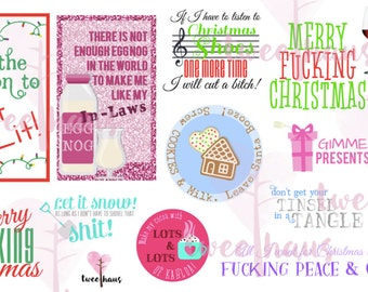 Printable ProfaniTWEE Christmas Stickers - Instant Download for Planners