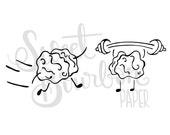 Gym Brains // Hand-Drawn Planner Stickers