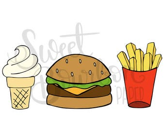 Fast Food // Hand-Drawn Planner Stickers