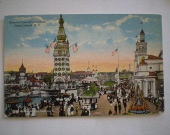 orig postcard Luna Park Promenade circa 1910 Coney Island Brooklyn