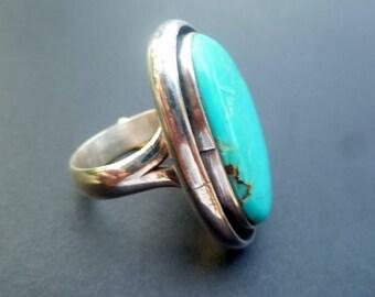 Big Blue Turquoise Statement Ring -Handmade Sterling Silver and Blue Turquoise Statement Ring - Boho Turquoise Ring - Size 9.7
