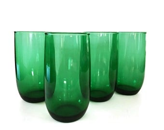 Vintage Roly Poly Green Glasses Holiday Glassware Christmas Green Tumblers Anchor Hocking