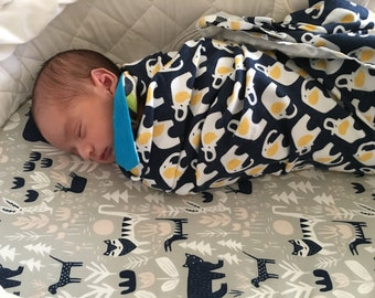"""Organic Cotton Swaddle - Receiving Blanket - Large 42"""" x 42"""" - Choose Your Print - Organic Flannel"""