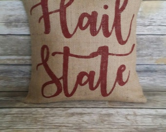 MSU Bulldogs, Hail State, Mississippi State, Hail State Pillow, Burlap Pillow, Burlap Pillow Cover, Dawgs, MSU, Mississippi, the south, home