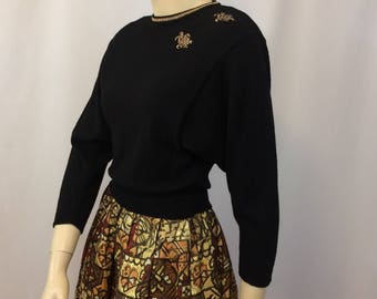 Vintage 1940's Black Sweater // Sweater with Gold Accent// 1940's Pinup Movie Star Sweater// Ladies Small Sweater Old Hollywood Glamour