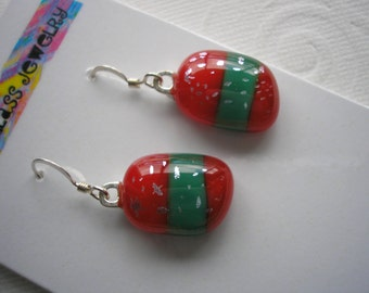 Dichroic Glass Jewelry Holiday Cheer Earrings Fused Glass Dangly Red and Green Christmas Party Jewelry Secret Santa Gift Striped Earrings