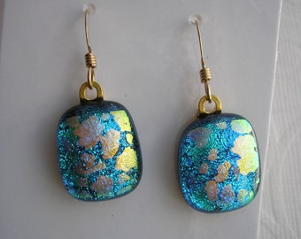 Earrings Blue with Gold Dichroic Jewelry GF French Hooks Dangles Drop Earrins Turquoise Blue Jewelry Iridescent Gifts for Her Gold Jewelry