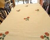 Tablecloth #1700, Custom Order for Angry JennyLong Table Cloth, Embroidered Tablecloth, Table Cloths, Tablecloths, Semi Sheer Tablecloth,