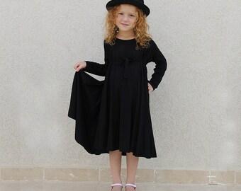 Girls black dress, round dress, elegant dress for girls