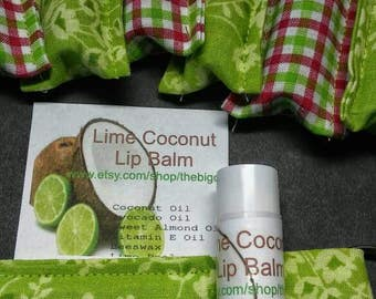 All Natural Lip Balms in Keychain Cozy Lime Coconut