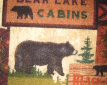 Fleece Blanket of Black Bears in the Woods with Green
