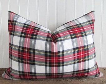 Lumbar Pillow Cover Stewart Modern White Tartan Plaid Zipper Many Sizes