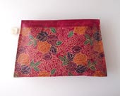 Raspberry Pink vintage Tooled Leather Clutch Purse Bag embossed floral flower print New Old Stock