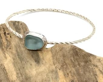 Sea Glass Bangle - Size 7.25 Bangle - Sterling Seaglass Bangle - Lake Erie Beach Glass Jewelry - Friendship Bracelet - Valentine's Day Gift