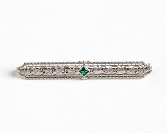 Antique Art Deco 10K White Gold Simulated Emerald Bar Pin - Vintage Filigree 1920s Long Brooch Fine Green Glass Bridal Flower Floral Jewelry