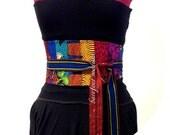 African Patchwork Obi Belt, One of a Kind art to wear, Unique African Patchwork Belt, Corset belt, OOAK Ankara Style, B Modiste Handmade
