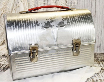 Silver Metal Thermos Lunch Box with Red Handle, Vintage Lunch Pail