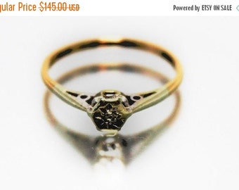 ON SALE Vintage Womans Diamond Ring Solitaire Wedding Engagement 9ct 9k | FREE Uk Shipping | Size O.5 / 7.5