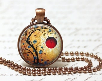 "Red Moon Rising Pendant Necklace 1"" Glass Round Dome Jewelry Charm"