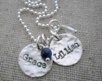 """two names mothers necklace, names and birthstones necklace, 2 names, two children names necklace, two kids names, gemstone birthstones 1/2"""""""
