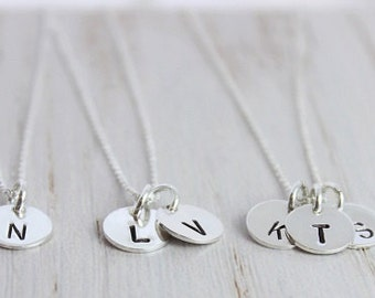 sterling silver simple initial necklace, stamped letter necklace, bridesmaid gift, disc necklace, initial jewelry, custom stamped