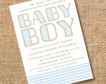 Classic Stripes Baby Shower Invitation Baby Boy Blue Striped Invite Baby Boy Twin Nautical Modern Light Blue Stripes Printable Invitation