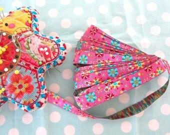 Jacquard Ribbon, Pink Flower Ribbon,  Farbenmix woven mandala pink flower ribbon,  Sewing Tape, 1 metre